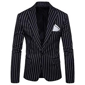 Men's Blazer Regular Striped Daily Holiday Active Plus Size Spring Fall Long Sleeve Black / Gray M / L / XL / Slim
