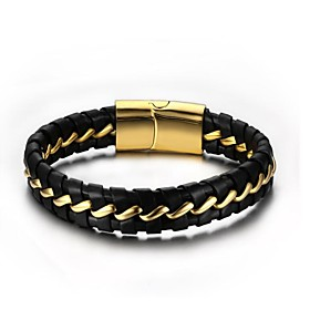 Men's Chain Bracelet Leather Bracelet Magnetic Fashion Leather Bracelet Jewelry Black For Gift Daily / Steel Stainless