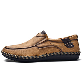 Men's Loafers  Slip-Ons Business / Casual Daily Walking Shoes Faux Leather / Cowhide Waterproof Shock Absorbing Wear Proof Black / Khaki / Brown Slogan Spring