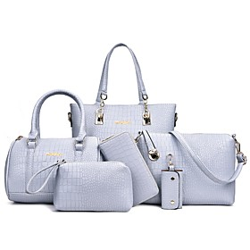 Women's Embossed PU Bag Set Bag Sets Crocodile 6 Pieces Purse Set Black / White / Purple / Fall  Winter