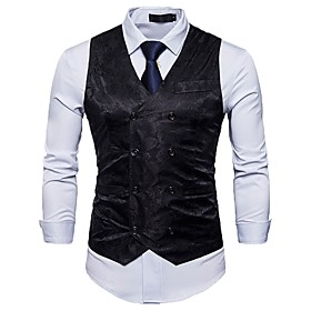 Men's Work Spring / Fall Regular Vest, Solid Colored / Floral Print V Neck Sleeveless Cotton / Polyester Black / Red / Light gray / Business Casual