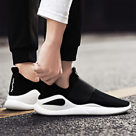 Men's Loafers  Slip-Ons Sporty / Casual Daily Outdoor Running Shoes / Fitness  Cross Training Shoes Tissage Volant Breathable Wear Proof Black and White / Red