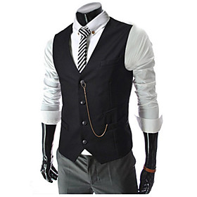 Men's Vest Regular Solid Colored Daily Work Spring Fall Sleeveless White / Black / Red M / L / XL / Business Casual