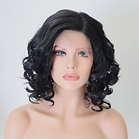 Synthetic Lace Front Wig Wavy Side Part Lace Front Wig Short Black#1B Synthetic Hair 14 inch Women's Adjustable Heat Resistant Black