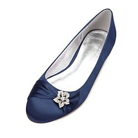 Women's Wedding Shoes Glitter Crystal Sequined Jeweled Plus Size Flat Heel Round Toe Comfort Ballerina Wedding Party  Evening Rhinestone Satin Flower Sparkling