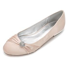 Women's Wedding Shoes Glitter Crystal Sequined Jeweled Plus Size Flat Heel Round Toe Ballerina Wedding Party  Evening Rhinestone Bowknot Sparkling Glitter Soli