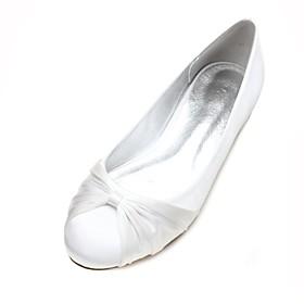 Women's Wedding Shoes Plus Size Flat Heel Round Toe Basic Minimalism Wedding Ribbon Tie Solid Colored Satin Summer White / Black / Ivory / EU40