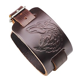 Men's Leather Bracelet Wolf Gothic Steampunk Leather Bracelet Jewelry Black / Brown For Street Club