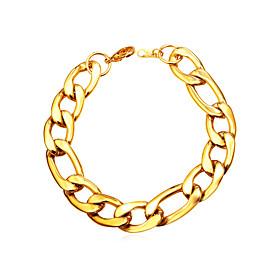Men's Women's Chain Bracelet Basic Fashion Stainless Steel Bracelet Jewelry Gold / Black / Silver For Daily