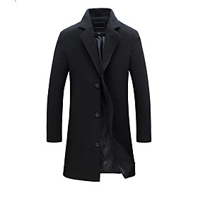 Men's Work Fall / Winter Plus Size Long Trench Coat, Solid Colored Fantastic Beasts Turndown Long Sleeve Cotton / Polyester Wine / Blushing Pink / Army Green