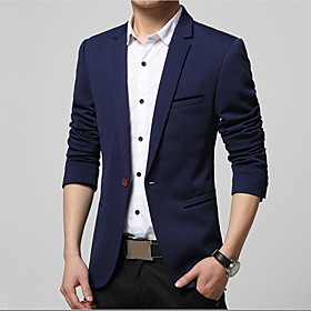 Men's Blazer Regular Solid Colored Daily Work Plus Size Spring Fall Long Sleeve Black / Wine / Khaki S / M / L