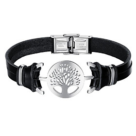 Men's Leather Bracelet Tree of Life Fashion Stainless Steel Bracelet Jewelry Black For Daily