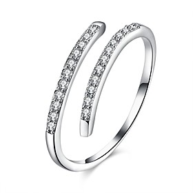 Open Cuff Ring Cubic Zirconia Silver S925 Sterling Silver Ladies Fashion Adjustable / Women's