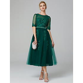 A-Line Sparkle Green Wedding Guest Formal Evening Dress Illusion Neck Sleeveless Tea Length Lace Over Tulle with Sequin Appliques 2020