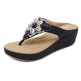 Women's Sandals Boho / Beach Wedge Sandals Spring / Summer Wedge Heel Round Toe Novelty Office  Career Rhinestone / Crystal Color Block Synthetic Microfiber PU