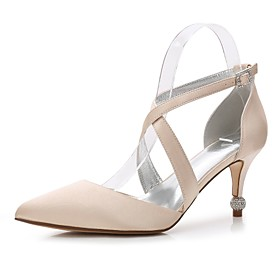 Women's Wedding Shoes Kitten Heel Rhinestone / Bowknot / Pearl Satin Comfort / Mary Jane / D'Orsay  Two-Piece Spring / Summer Blue / Champagne / Ivory / Basic