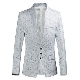 Men's Blazer Regular Striped Party Going out White / Black / Purple M / L / XL