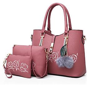 Women's Feathers / Fur PU Bag Set Bag Sets 3 Pcs Purse Set Black / Blushing Pink / Blue