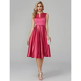 A-Line Elegant Minimalist Cocktail Party Prom Dress V Wire Sleeveless Knee Length Satin with Sash / Ribbon 2020