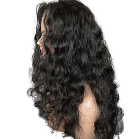 Unprocessed Human Hair Lace Front Wig Layered Haircut style Brazilian Hair Wavy Black Wig 130% Density with Baby Hair For Black Women Women's Short Medium Leng