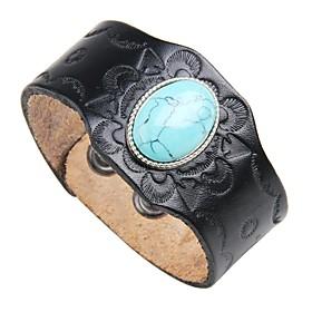 Men's Turquoise Leather Bracelet Vintage Rock Leather Bracelet Jewelry Black / Brown For Street Club