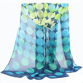 Women's Polyester Rectangle Scarf - Polka Dot Mesh / Cute