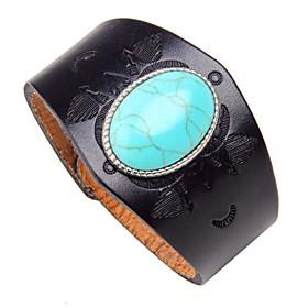 Men's Turquoise Chain Bracelet Leather Bracelet Geometrical Vintage Rock Leather Bracelet Jewelry Black / Brown For Street Club