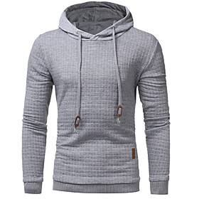 Men's Hoodie Solid Colored Hooded Basic Hoodies Sweatshirts  Slim White Black Dark Gray