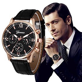 Men's Dress Watch Aviation Watch Luxury Chronograph Analog Black / Gold Golden Black / Blue / One Year / Stainless Steel / Quilted PU Leather / Large Dial / SS