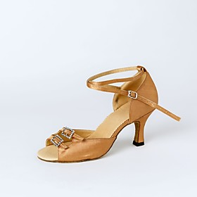 Women's Dance Shoes Satin Latin Shoes Crystal / Rhinestone Heel Customized Heel Customizable Black / Nude / Brown / Indoor / Leather / Professional / EU39