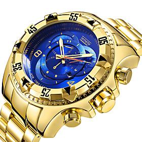 Men's Sport Watch Quartz Luxury Calendar / date / day Analog Blue / Black Gold / White Black / Silver / Stainless Steel / Large Dial