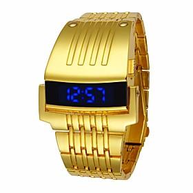 Men's Sport Watch Digital Watch Quartz Luxury Water Resistant / Waterproof Digital Black Gold Silver