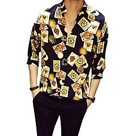 Men's Shirt Floral Half Sleeve Daily Tops Business Vintage Black