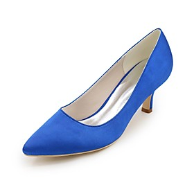Women's Wedding Shoes Plus Size Kitten Heel Pointed Toe Basic Pump Wedding Party  Evening Solid Colored Satin White / Purple / Red
