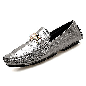 Men's Loafers  Slip-Ons Dress Shoes Casual Daily Office  Career PU Wear Proof White / Black / Silver Fall