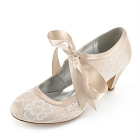 Women's Wedding Shoes Lace up Plus Size Cone Heel Comfort Wedding Party  Evening Lace Summer White / Champagne / Ivory / EU41