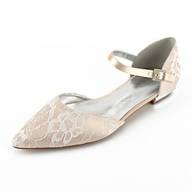 Women's Wedding Shoes Plus Size Flat Heel Pointed Toe Comfort D'Orsay  Two-Piece Wedding Party  Evening Ribbon Tie Lace Summer White / Champagne / Ivory / EU41