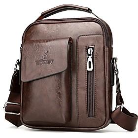 Men's Bags PU Leather Shoulder Messenger Bag Zipper for Shopping / Holiday Dark Brown / Black / khaki
