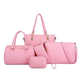 Women's Zipper PU Bag Set Bag Sets Solid Color 5 Pieces Purse Set Black / Purple / Blushing Pink / Fall  Winter
