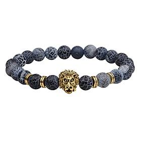 Men's Natural Stone Bead Bracelet Beads Lion Chakra Vintage Fashion equilibrio Stone Bracelet Jewelry Black / Silver / Brown For Gift Street