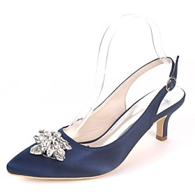 Women's Wedding Shoes Glitter Crystal Sequined Jeweled Plus Size Kitten Heel Pointed Toe Classic Wedding Party  Evening Rhinestone Solid Colored Satin Walking