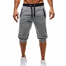 Men's Basic / Street chic Daily Sports Holiday Chinos / Shorts wfh Sweatpants - Color Block Black  Gray, Patchwork / Drawstring Summer Fall Black Dark Gray Lig