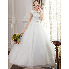 Ball Gown Wedding Dresses Jewel Neck Floor Length Lace Over Tulle Cap Sleeve Romantic Illusion Detail with Beading Appliques 2020