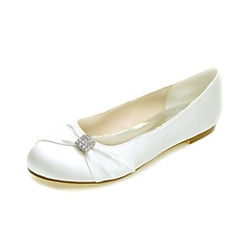 Women's Wedding Shoes Glitter Crystal Sequined Jeweled Plus Size Flat Heel Round Toe Ballerina Wedding Party  Evening Rhinestone Solid Colored Satin White / Pu