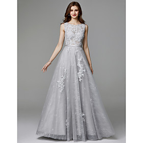 A-Line Elegant Floral Open Back Formal Evening Wedding Party Dress Jewel Neck Sleeveless Sweep / Brush Train Lace Tulle with Appliques 2020