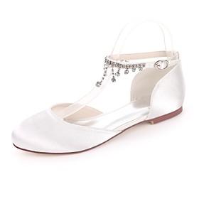 Women's Wedding Shoes Glitter Crystal Sequined Jeweled Plus Size Flat Heel Round Toe Basic Sweet Wedding Rhinestone Solid Colored Satin Summer White / Purple /