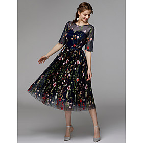 A-Line Floral Black Holiday Cocktail Party Dress Illusion Neck Half Sleeve Tea Length Organza Satin Chiffon with Embroidery Appliques 2020