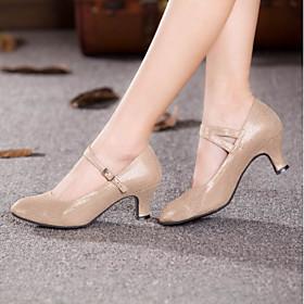 Women's Dance Shoes Customized Materials Modern Shoes/Character Shoes Heel Customized Heel Customizable Black / Gold / Blue / Indoor / EU42