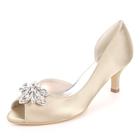 Women's Wedding Shoes Glitter Crystal Sequined Jeweled Plus Size Kitten Heel Peep Toe Basic Pump Wedding Party  Evening Rhinestone Solid Colored Satin White /
