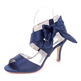 Women's Sandals Lace up Stiletto Heel Open Toe Bowknot Satin Basic Pump Spring  Summer Red / Champagne / White / Wedding / Party  Evening / Party  Evening